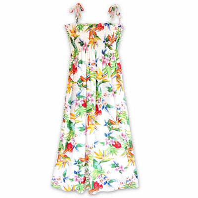 Jungle White Maxi Hawaiian Dress - One Size / White - Womens Dress
