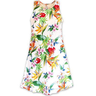 Jungle White Rhythm Hawaiian Dress - Women's Dress