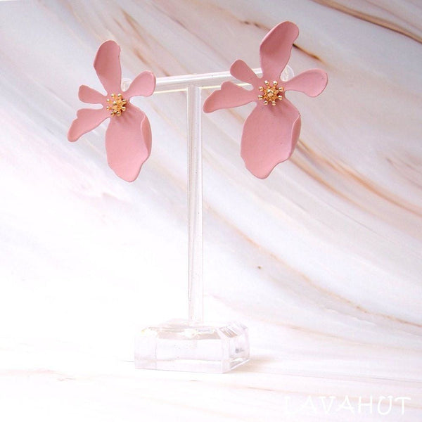 Kakaako Pink Island Flower Earrings - Earrings