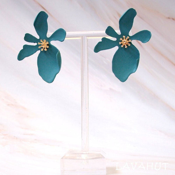 Kakaako Teal Island Flower Earrings - Earrings