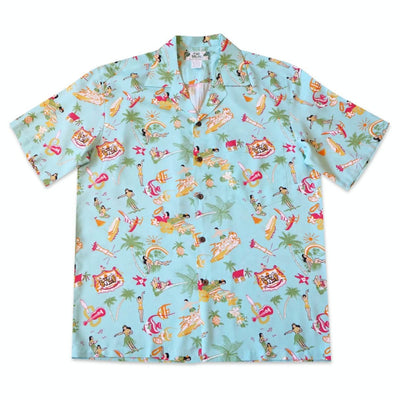Kalakaua Green Hawaiian Rayon Shirt - Xs / Green - Men's Shirts