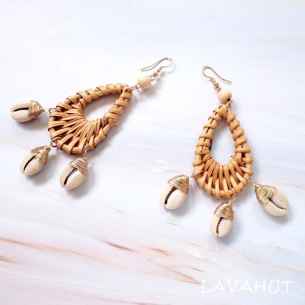 Kauai Drop Seashell Wicker Earrings - Tan - Earrings