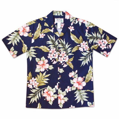Kualoa Navy Hawaiian Cotton Shirt - S / Navy - Mens Shirts