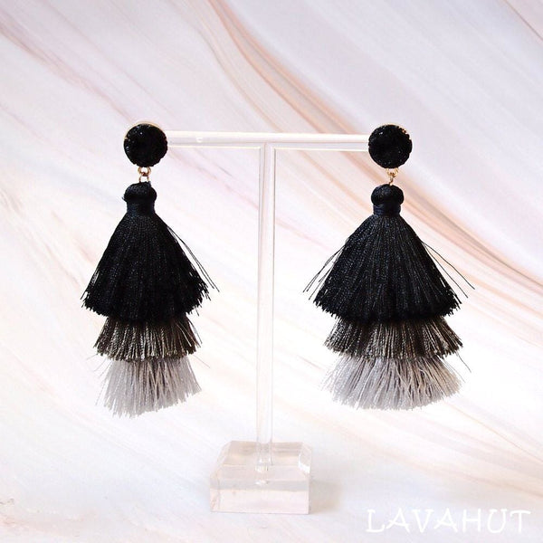 Lanikai Black Tassel Drop Earrings - Earrings