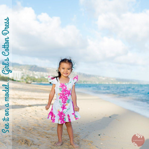 Lanikai Blue Hawaiian Girl Cotton Dress - Girls Hawaiian Dresses