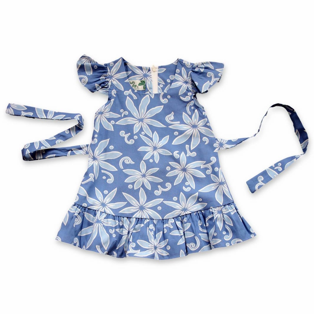 Hawaiian Girl Cotton White Hibiscus Flower Ruffle Elastic Dress-2,4,6,8,10