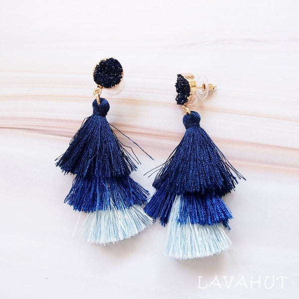 Lanikai Blue Tassel Drop Earrings - Earrings