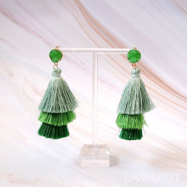 Lanikai Green Tassel Drop Earrings - Earrings