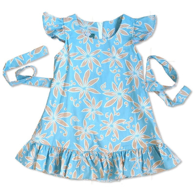 Lanikai Tan Hawaiian Girl Cotton Dress - Girls Hawaiian Dresses