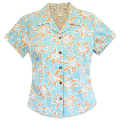 Lanikai Tan Lady's Hawaiian Cotton Blouse - s / Tan - Women's Blouses