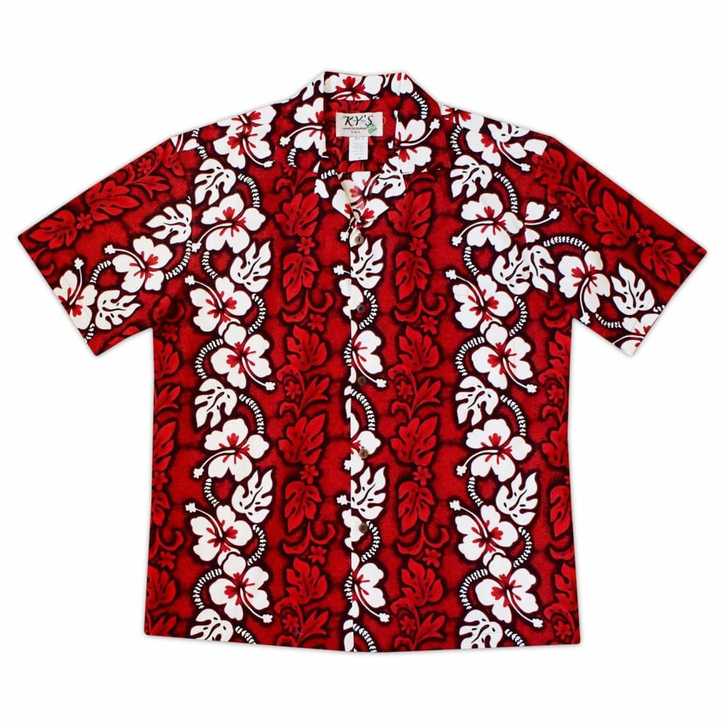 Lava Flow Red Hawaiian Cotton Shirt - S / Red - Mens Shirts