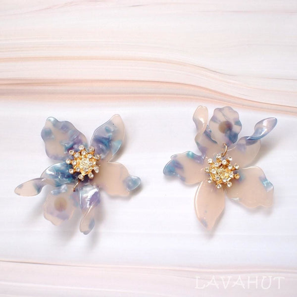 Lily Drop Confetti Blue Earrings - Blue - Earrings