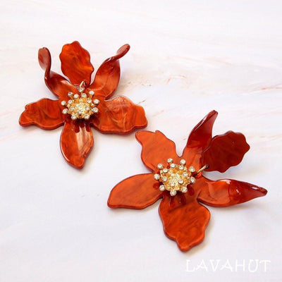 Lily Drop Orange Earrings - Orange - Earrings