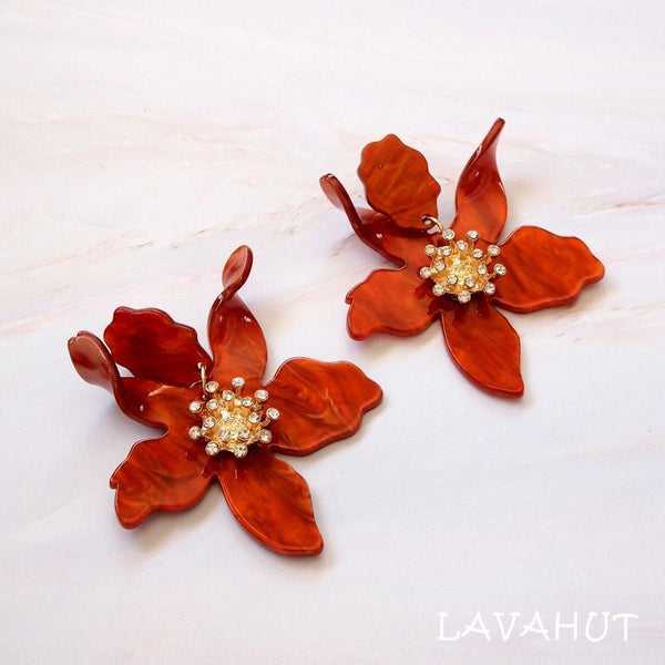 Lily Drop Orange Earrings - Earrings