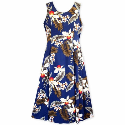 Majestic Blue Darling Midi Hawaiian Dress - Xs / Blue - Womens Dress
