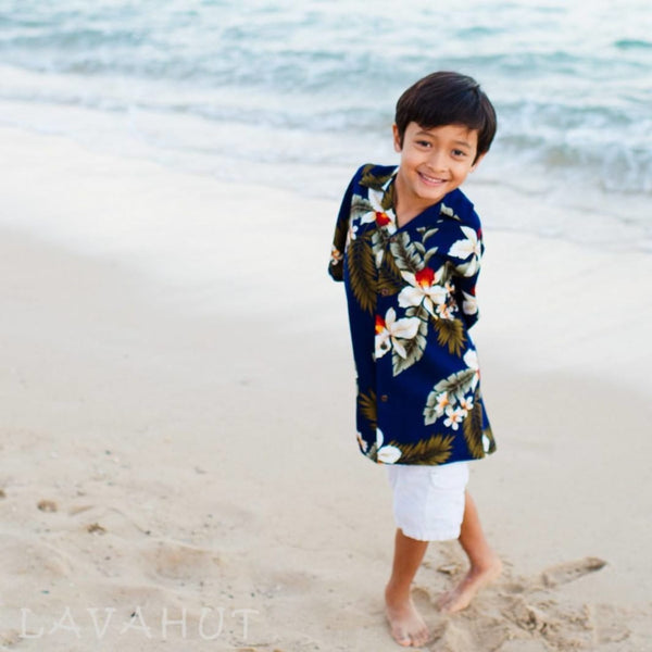 Majestic Blue Hawaiian Boy Shirt - Boys Hawaiian Shirts