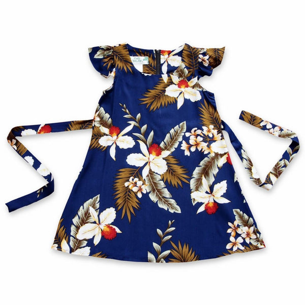 Majestic Blue Hawaiian Girl Rayon Dress - Girls Hawaiian Dresses