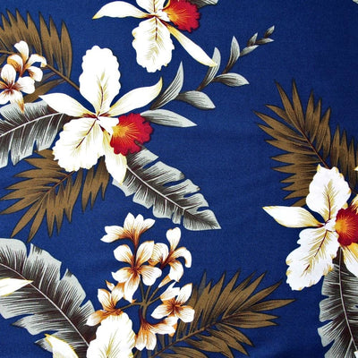 Majestic Blue Hawaiian Rayon Fabric by the Yard - Blue - Fabric
