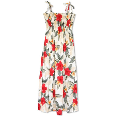 Makaha Cream Maxi Hawaiian Dress - One Size / Cream - Women's Dress