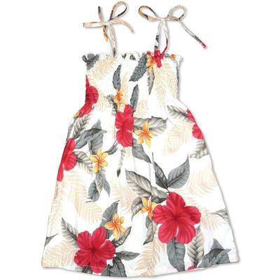 Makaha Cream Sunkiss Hawaiian Girl Dress - s (2 - 4) / Cream - Girl's Hawaiian Dresses