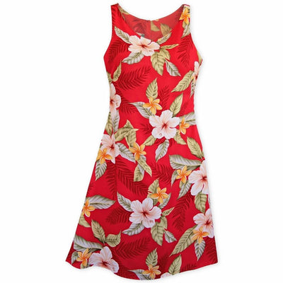 Makaha Red Fiesta Hawaiian Dress - Women's Dress
