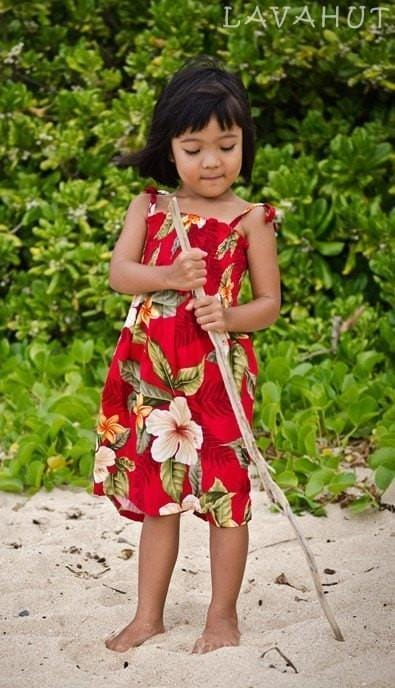 Makaha Red Sunkiss Hawaiian Girl Dress - Girl's Hawaiian Dresses