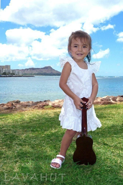 Makamae White Hawaiian Girl Cotton Dress - Girl's Hawaiian Dresses
