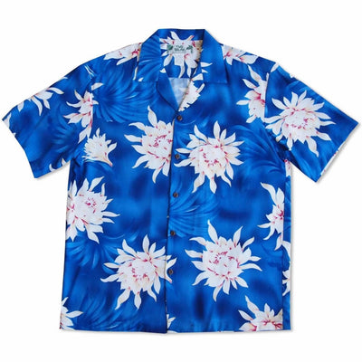 Manoa Cereus Blue Hawaiian Rayon Shirt - Mens Shirts