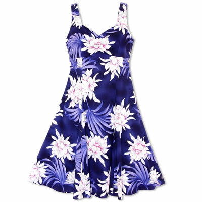 Manoa Cereus Purple Molokini Hawaiian Dress - S / Purple - Womens Dress