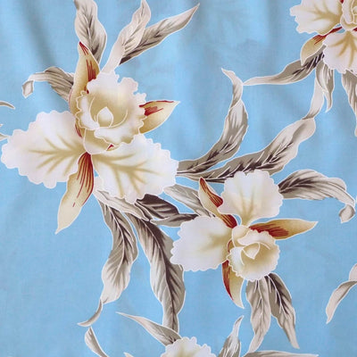 Mele Blue Hawaiian Rayon Fabric by the Yard - Baby Blue - Fabric
