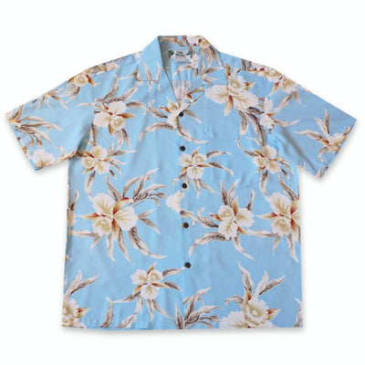 Mele Blue Hawaiian Rayon Shirt - S / Baby Blue - Mens Shirts