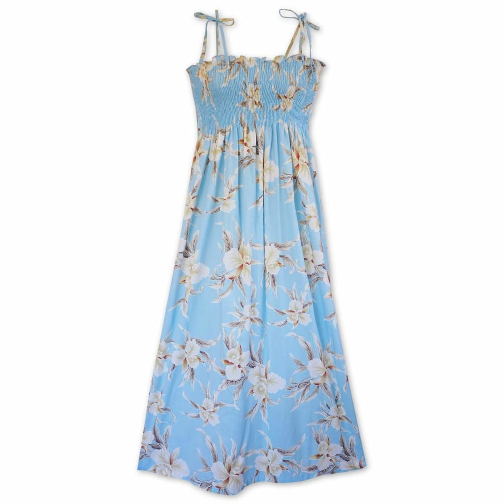 Mele Blue Maxi Hawaiian Dress - One Size / Baby Blue - Womens Dress