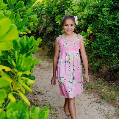 Mele Pink Sunkiss Hawaiian Girl Dress - S (2 - 4) / Pink - Girls Hawaiian Dresses