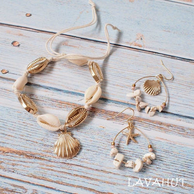Mermaid Gold Cowry Seashell Hawaiian Bracelet - Necklaces