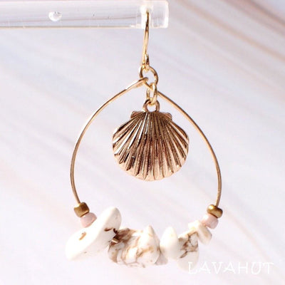 Mermaid Seashell Hawaiian Hoop Earrings - Gold - Earrings