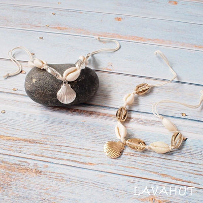 Mermaid Silver Cowry Seashell Hawaiian Bracelet - Silver / Bracelet - Necklaces