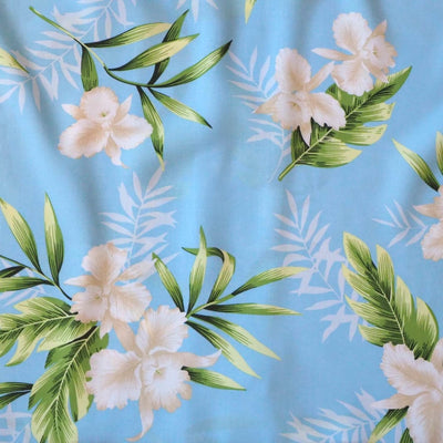 Midnight Baby Blue Hawaiian Rayon Fabric by the Yard - Baby Blue - Fabric