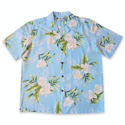 Midnight Baby Blue Hawaiian Rayon Shirt - Xs / Baby Blue - Mens Shirts