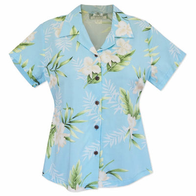 Midnight Baby Blue Lady's Hawaiian Rayon Blouse - s / Baby Blue - Women's Blouses