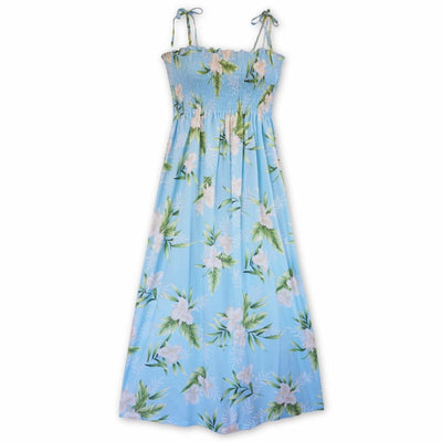 Midnight Baby Blue Maxi Hawaiian Dress - One Size / Baby Blue - Women's Dress