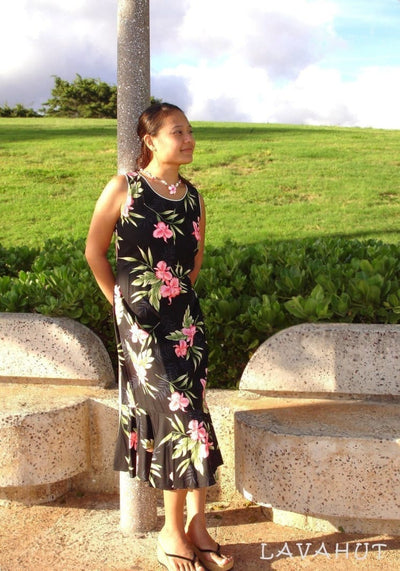 Midnight Black Hana Aloha Hawaiian Dress - Women's Dress