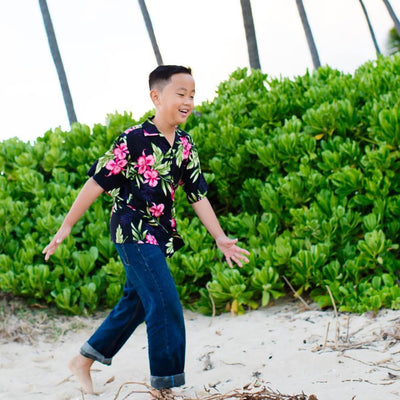 Midnight Black Hawaiian Boy Shirt - Boys Hawaiian Shirts