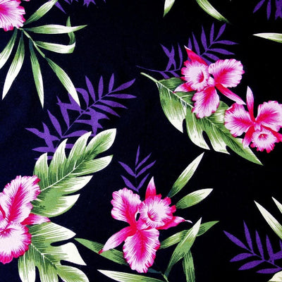 Midnight Black Hawaiian Rayon Fabric by the Yard - Black - Fabric