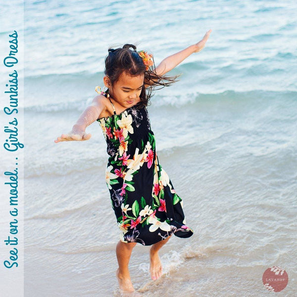 Midnight Black Sunkiss Hawaiian Girl Dress - Girls Hawaiian Dresses