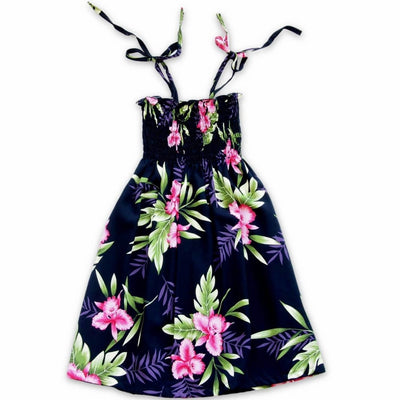 Midnight Black Sunkiss Hawaiian Girl Dress - s (2 - 4) / Black - Girl's Hawaiian Dresses