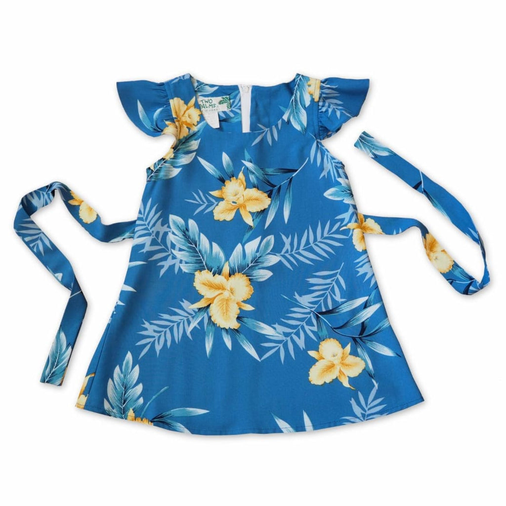 Midnight Blue Hawaiian Girl Rayon Dress - 1 / Blue - Girls Hawaiian Dresses