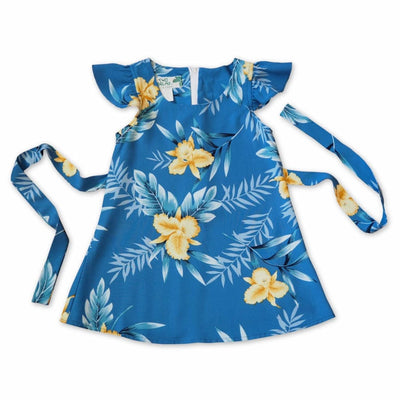 Midnight Blue Hawaiian Girl Rayon Dress - 1 / Blue - Girl's Hawaiian Dresses