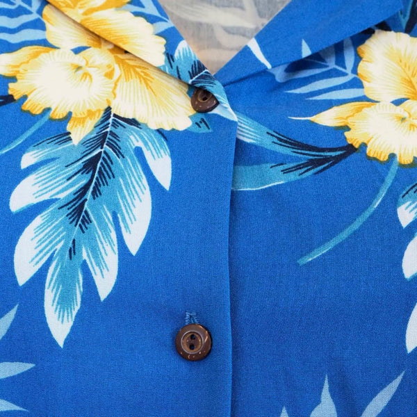 Midnight Blue Ladys Hawaiian Sleeveless Blouse - Womens Blouses