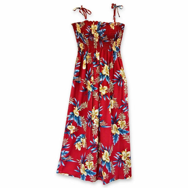 Midnight Maroon Maxi Hawaiian Dress - Womens Dress