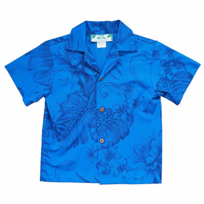 Monstera Cereus Blue Hawaiian Boy Shirt - 2 / Blue - Boy's Hawaiian Shirts
